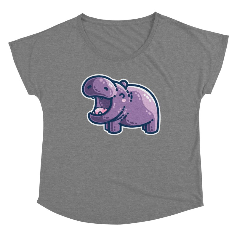 Purple Hippo Kawaii Cute Fitted Scoop Neck by Flaming Imp's Artist Shop