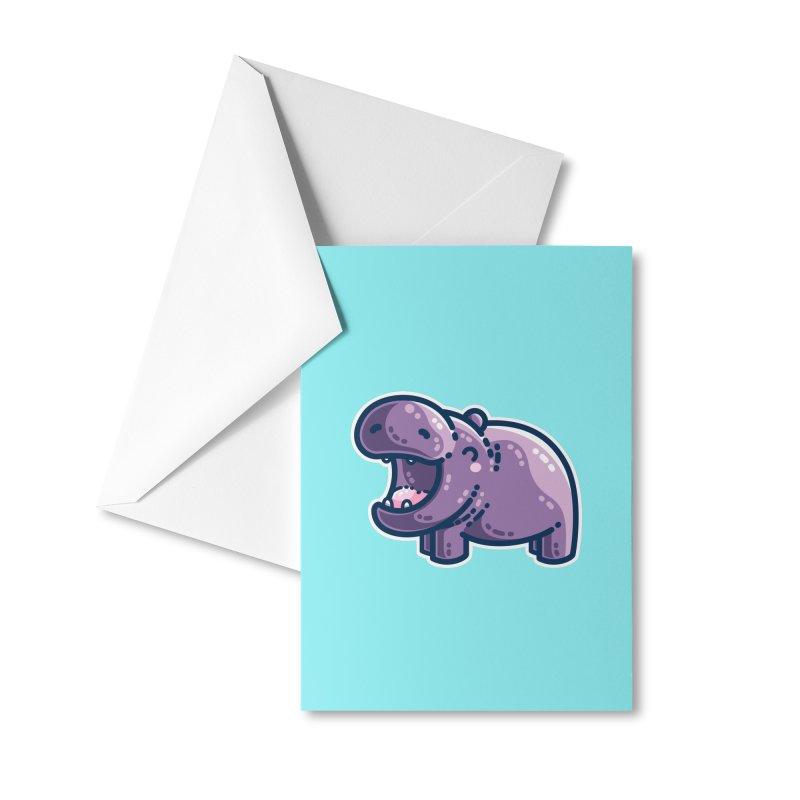 Purple Hippo Kawaii Cute Masks + Accessories Greeting Card by Flaming Imp's Artist Shop