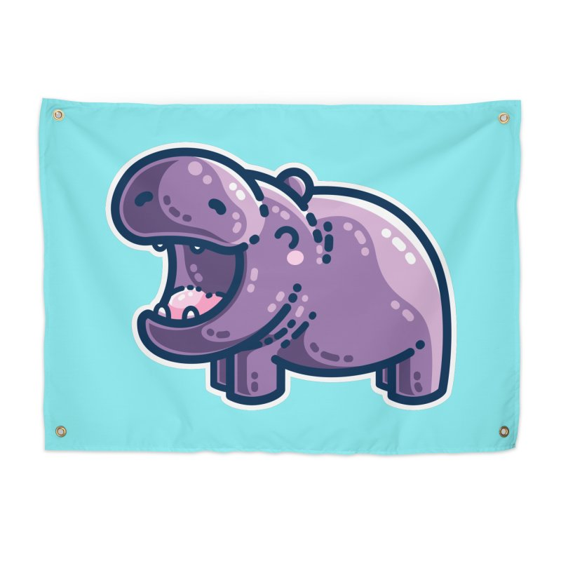 Purple Hippo Kawaii Cute Home Tapestry by Flaming Imp's Artist Shop