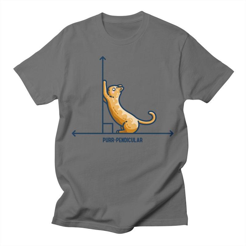 Purr-pendicular Kawaii Cute Cat Maths Pun Unisex T-Shirt by Flaming Imp's Artist Shop