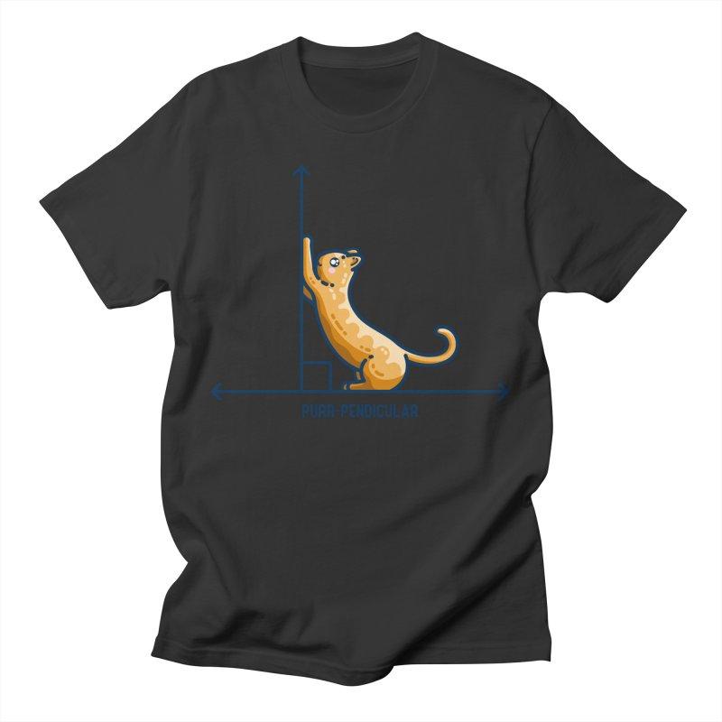 Purr-pendicular Kawaii Cute Cat Maths Pun Fitted T-Shirt by Flaming Imp's Artist Shop