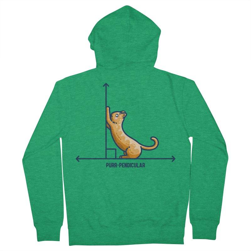 Purr-pendicular Kawaii Cute Cat Maths Pun Fitted Zip-Up Hoody by Flaming Imp's Artist Shop