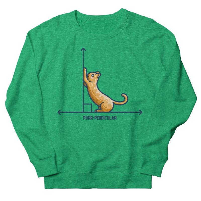 Purr-pendicular Kawaii Cute Cat Maths Pun Fitted Sweatshirt by Flaming Imp's Artist Shop