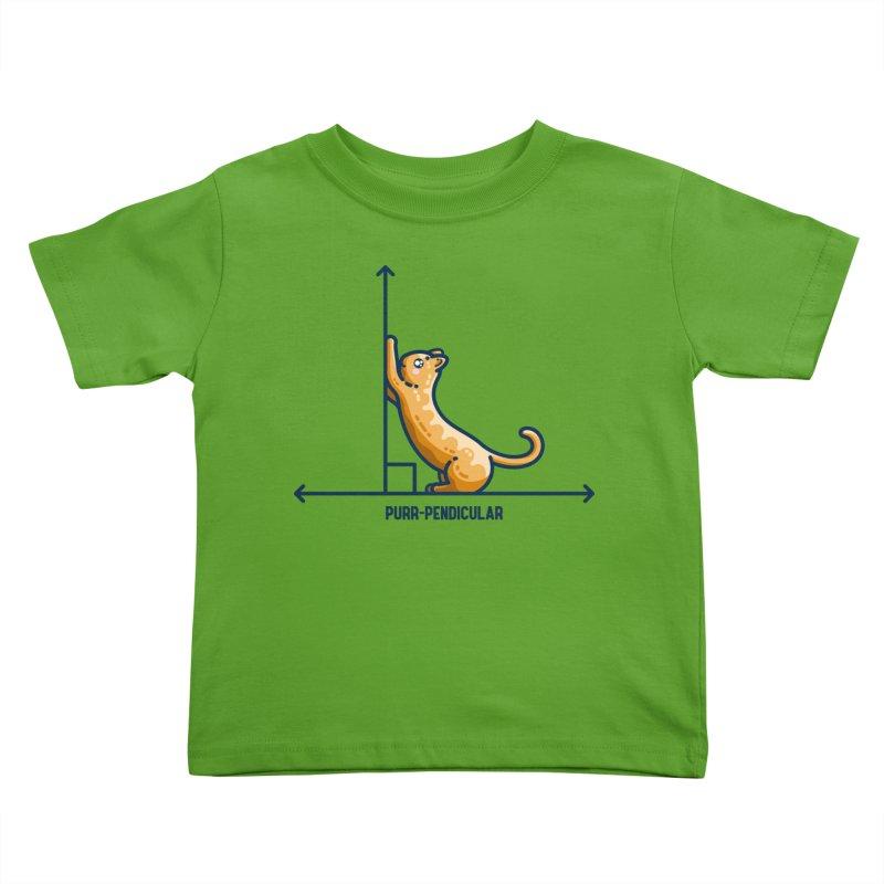 Purr-pendicular Kawaii Cute Cat Maths Pun Kids Toddler T-Shirt by Flaming Imp's Artist Shop