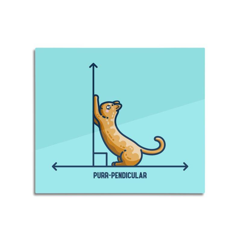 Purr-pendicular Kawaii Cute Cat Maths Pun Home Mounted Aluminum Print by Flaming Imp's Artist Shop