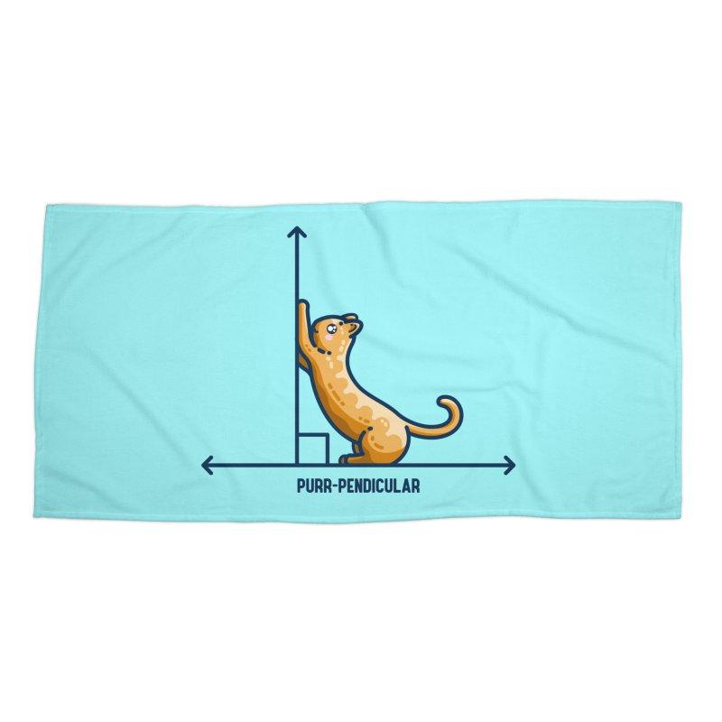 Purr-pendicular Kawaii Cute Cat Maths Pun Masks + Accessories Beach Towel by Flaming Imp's Artist Shop