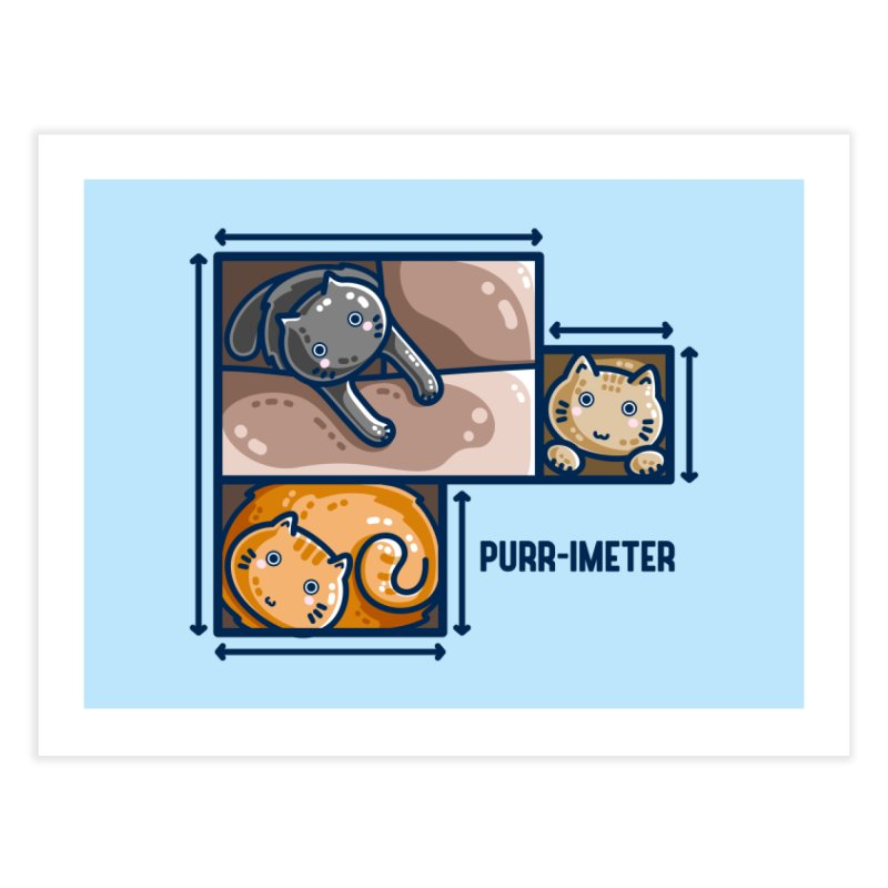 Purr-imeter Maths Cat Pun Home Fine Art Print by Flaming Imp's Artist Shop