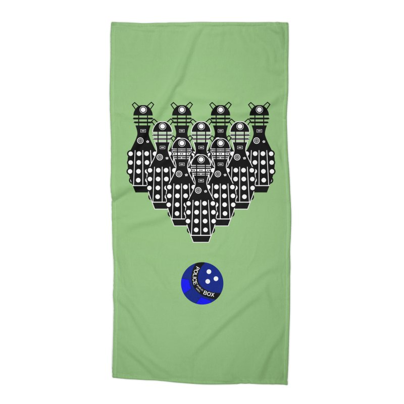 Dalek bowling Accessories Beach Towel by Flaming Imp's Artist Shop