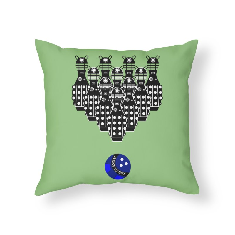 Dalek bowling Home Throw Pillow by Flaming Imp's Artist Shop