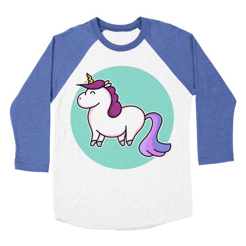 Cute Unicorn Women's Baseball Triblend T-Shirt by Flaming Imp's Artist Shop