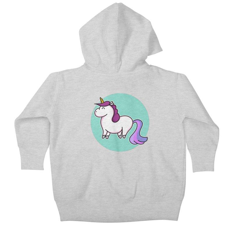 Cute Unicorn Kids Baby Zip-Up Hoody by Flaming Imp's Artist Shop