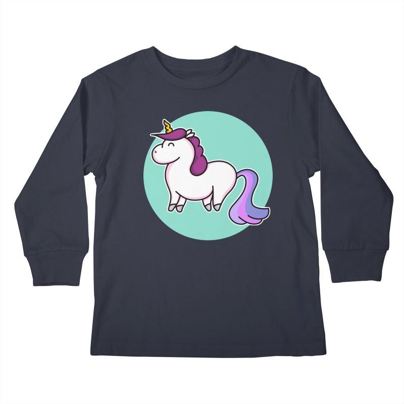 Cute Unicorn Kids Longsleeve T-Shirt by Flaming Imp's Artist Shop