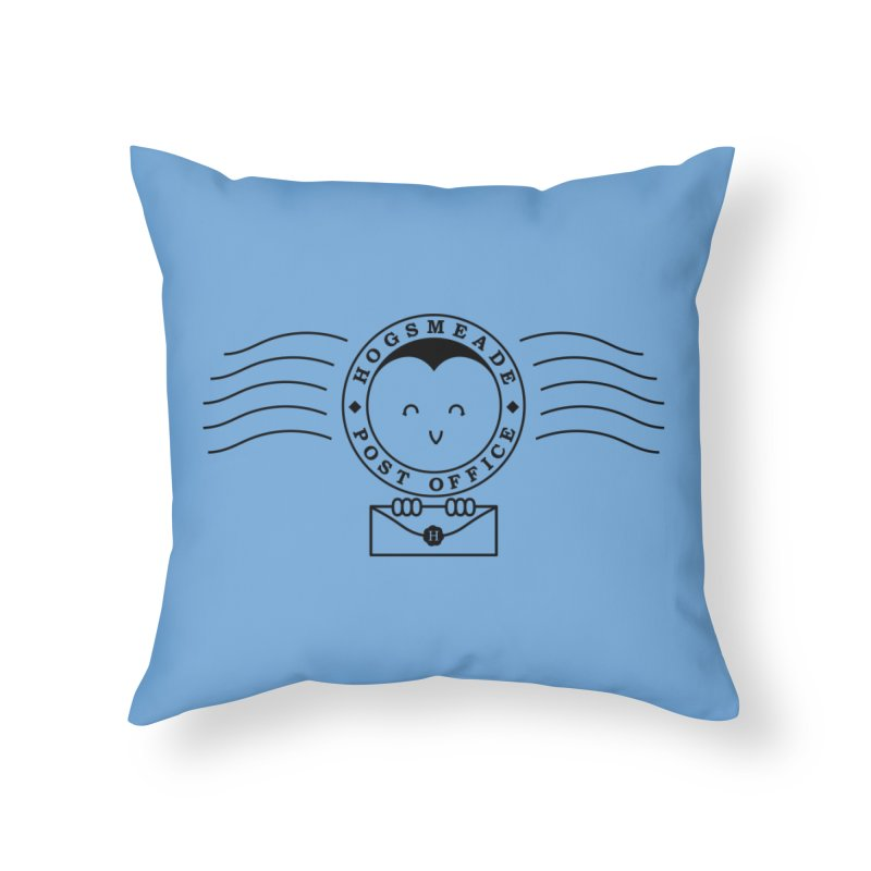 Cute Hogsmeade Post Office Stamp Home Throw Pillow by Flaming Imp's Artist Shop