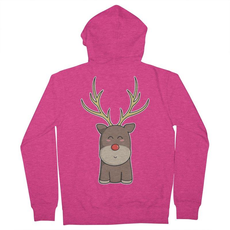 Cute Kawaii Christmas Reindeer Women's Zip-Up Hoody by Flaming Imp's Artist Shop