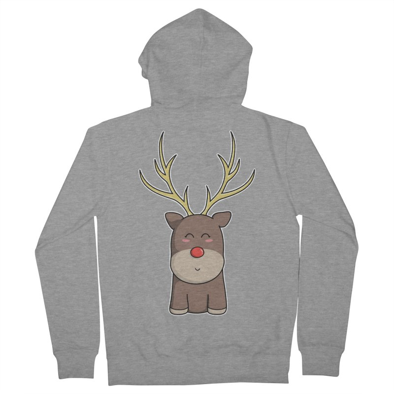 Cute Kawaii Christmas Reindeer Men's Zip-Up Hoody by Flaming Imp's Artist Shop