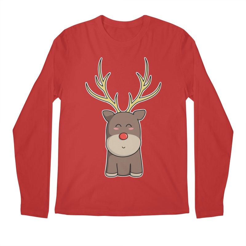 Cute Kawaii Christmas Reindeer Men's Longsleeve T-Shirt by Flaming Imp's Artist Shop