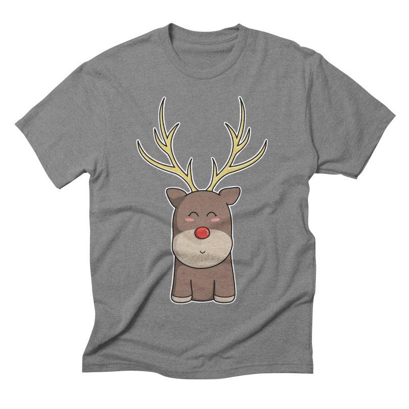 Cute Kawaii Christmas Reindeer Men's Triblend T-Shirt by Flaming Imp's Artist Shop