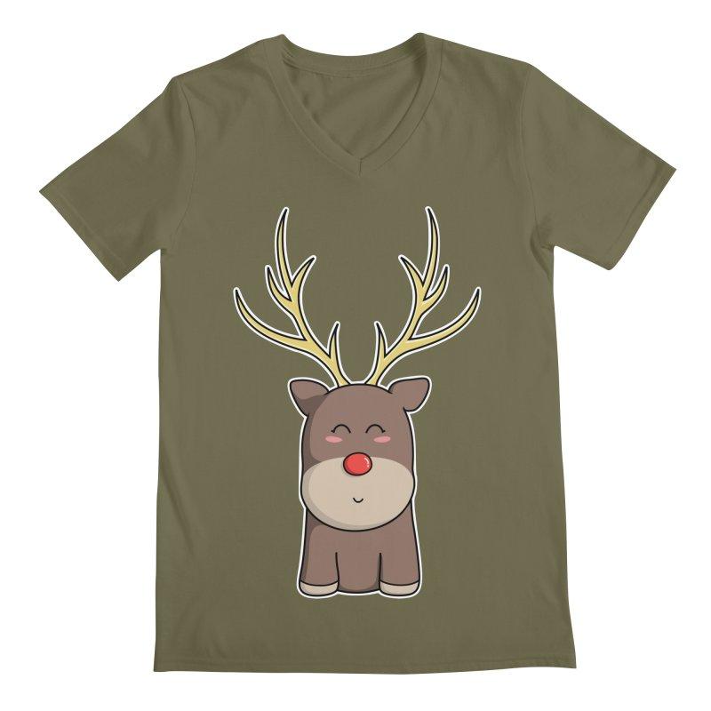 Cute Kawaii Christmas Reindeer Men's V-Neck by Flaming Imp's Artist Shop