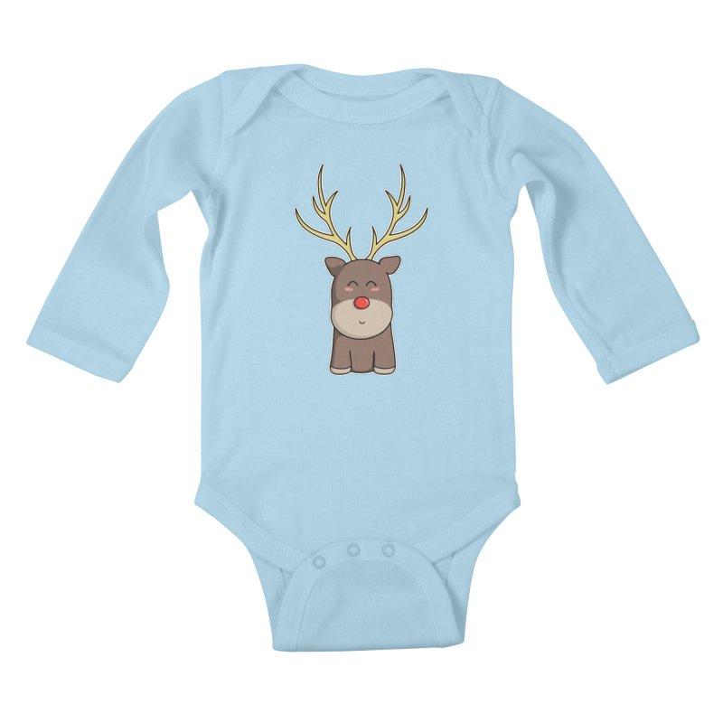 Cute Kawaii Christmas Reindeer Kids Baby Longsleeve Bodysuit by Flaming Imp's Artist Shop