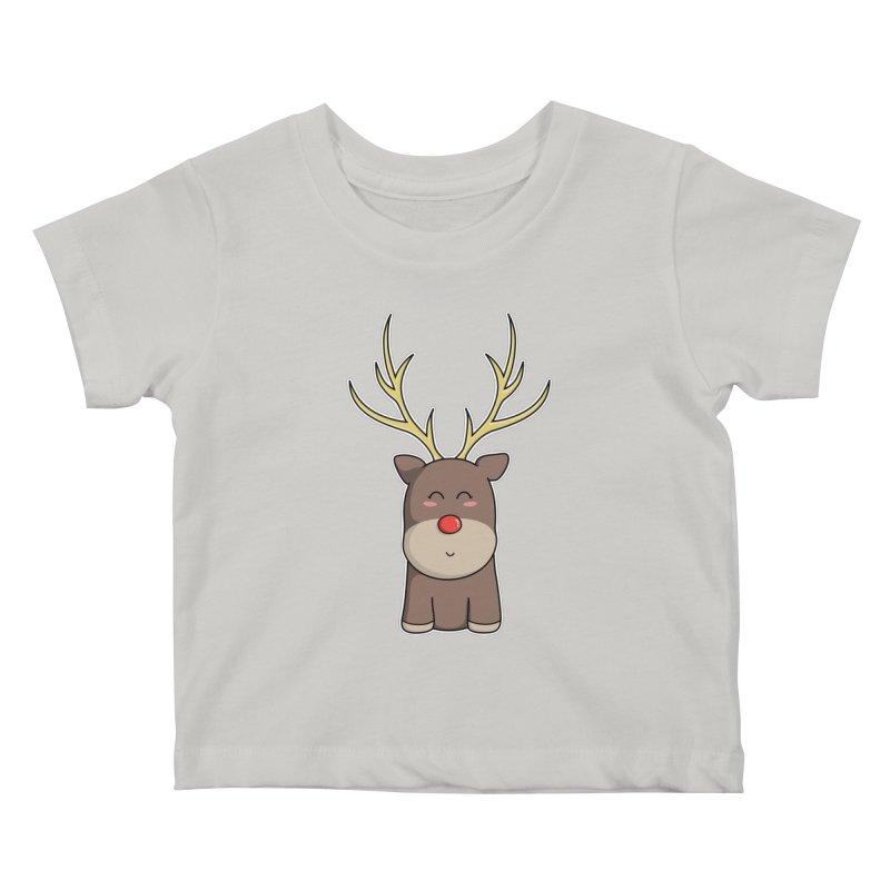 Cute Kawaii Christmas Reindeer Kids Baby T-Shirt by Flaming Imp's Artist Shop