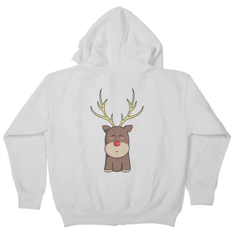 Cute Kawaii Christmas Reindeer Kids Zip-Up Hoody by Flaming Imp's Artist Shop
