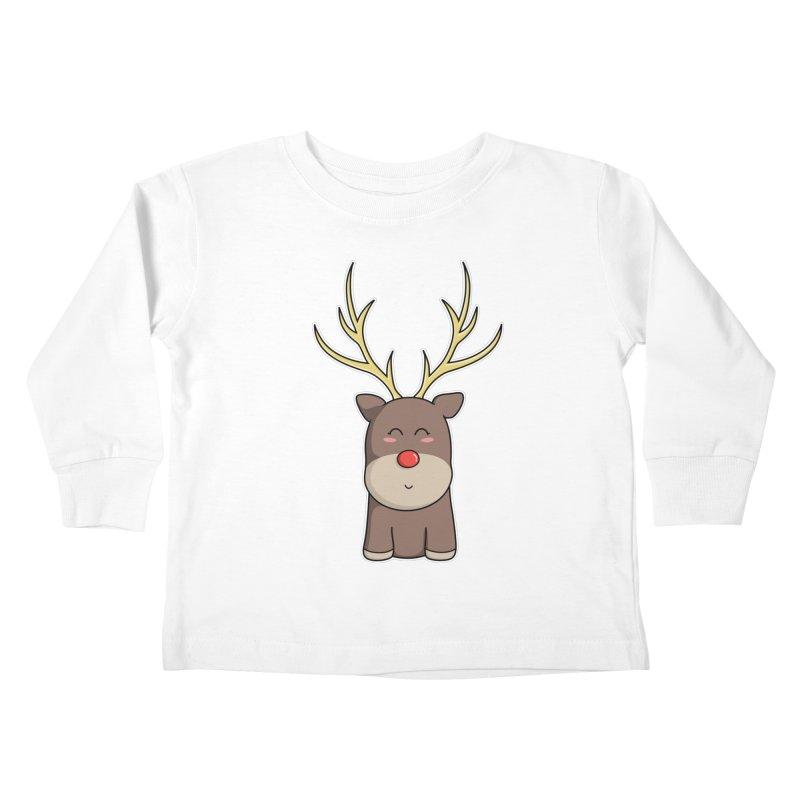 Cute Kawaii Christmas Reindeer Kids Toddler Longsleeve T-Shirt by Flaming Imp's Artist Shop