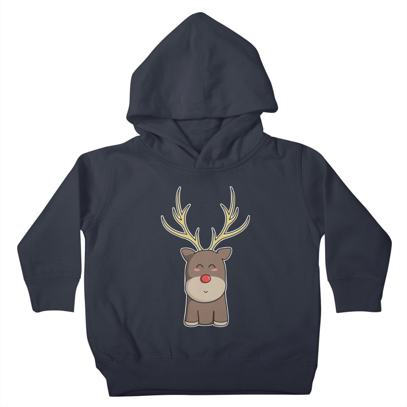 Cute Kawaii Christmas Reindeer Kids Toddler Pullover Hoody by Flaming Imp's Artist Shop
