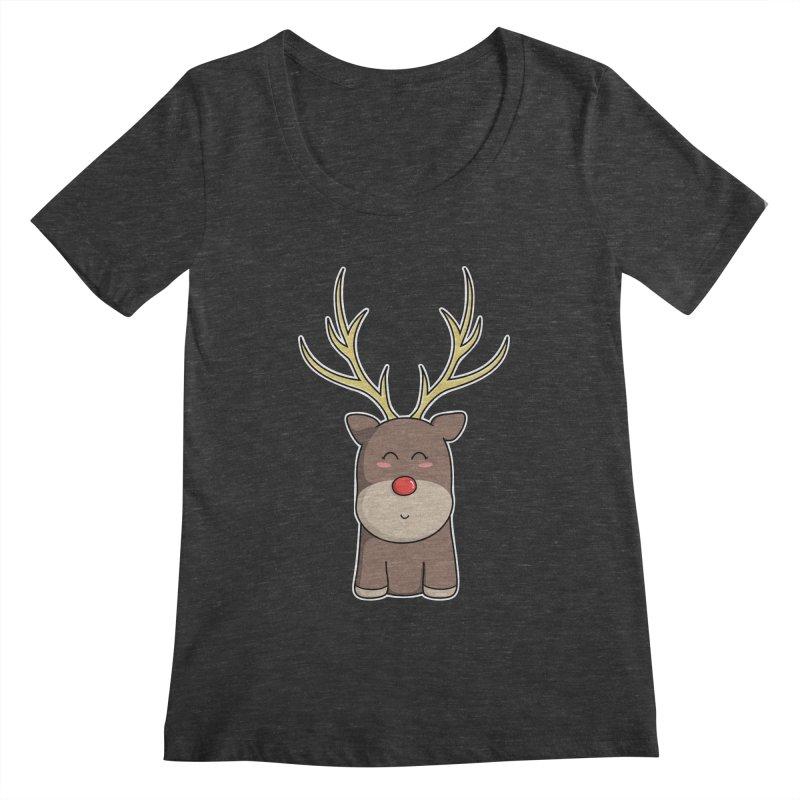 Cute Kawaii Christmas Reindeer Women's Scoopneck by Flaming Imp's Artist Shop