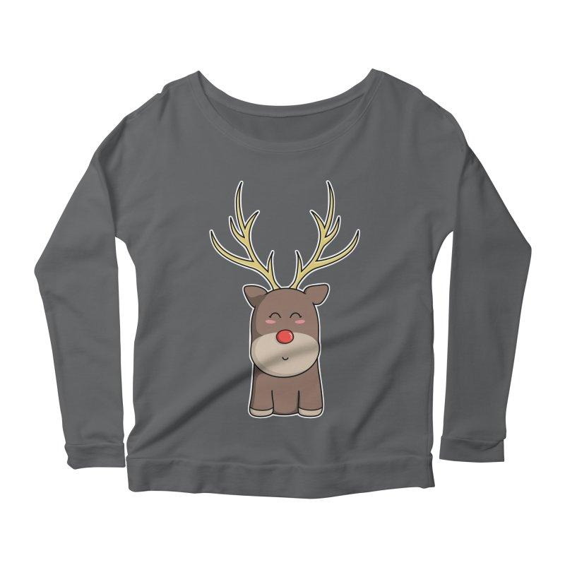 Cute Kawaii Christmas Reindeer Women's Longsleeve Scoopneck  by Flaming Imp's Artist Shop
