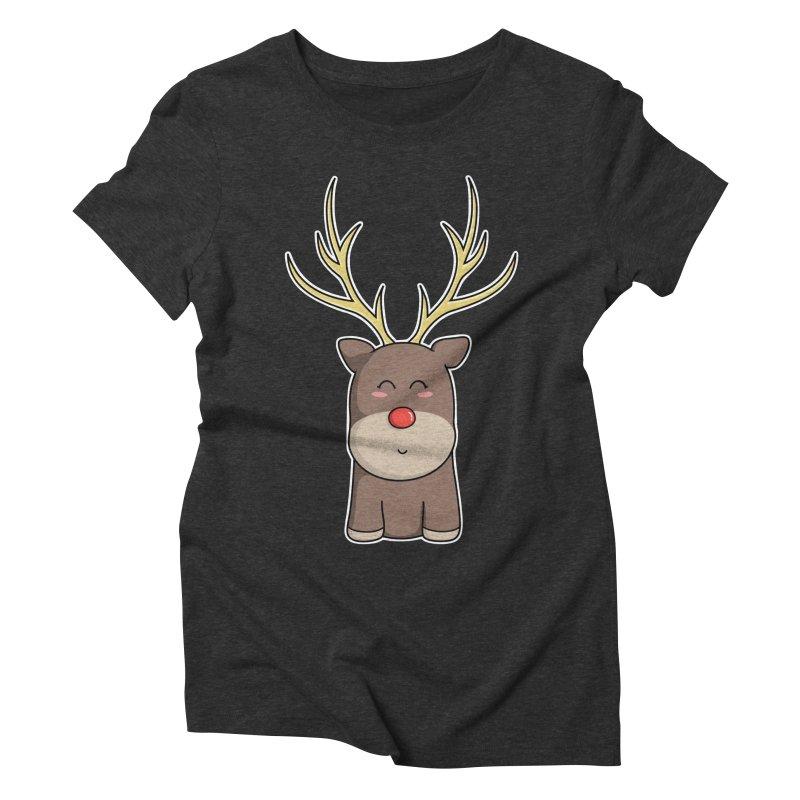 Cute Kawaii Christmas Reindeer Women's Triblend T-Shirt by Flaming Imp's Artist Shop