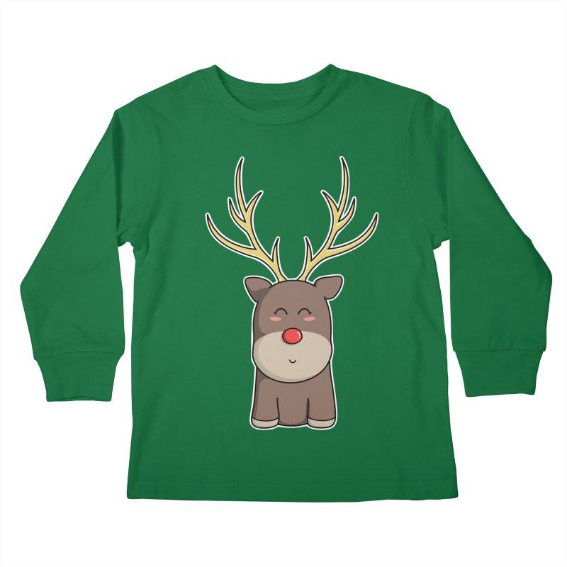 Cute Kawaii Christmas Reindeer Kids Longsleeve T-Shirt by Flaming Imp's Artist Shop