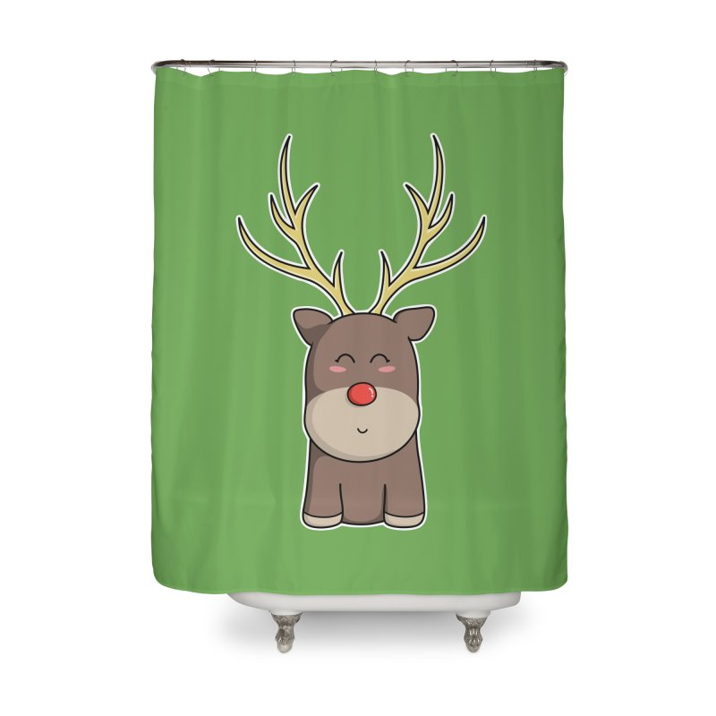 Cute Kawaii Christmas Reindeer Home Shower Curtain by Flaming Imp's Artist Shop