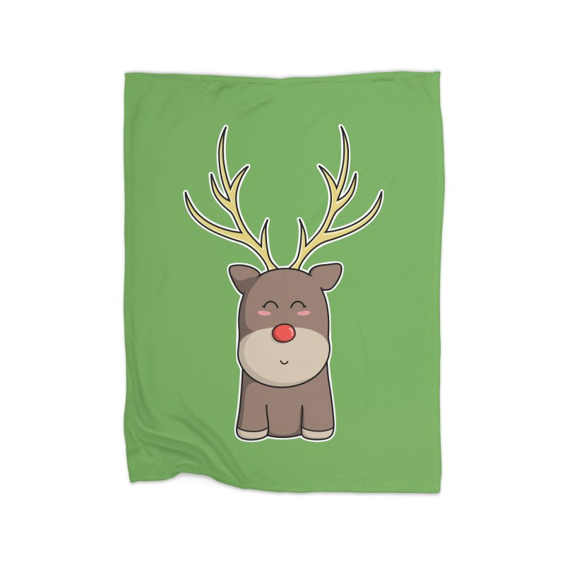 Cute Kawaii Christmas Reindeer Home Blanket by Flaming Imp's Artist Shop