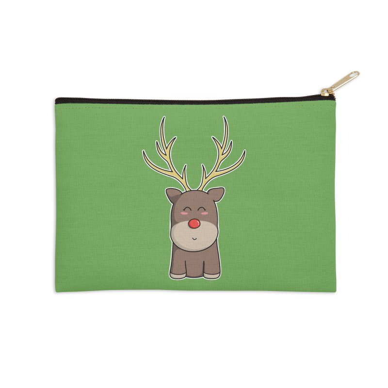 Cute Kawaii Christmas Reindeer Accessories Zip Pouch by Flaming Imp's Artist Shop