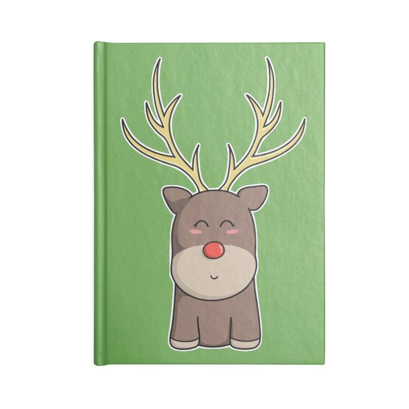Cute Kawaii Christmas Reindeer Accessories Notebook by Flaming Imp's Artist Shop