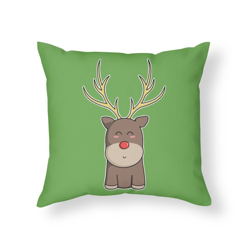 Cute Kawaii Christmas Reindeer Home Throw Pillow by Flaming Imp's Artist Shop
