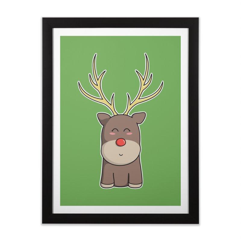 Cute Kawaii Christmas Reindeer Home Framed Fine Art Print by Flaming Imp's Artist Shop