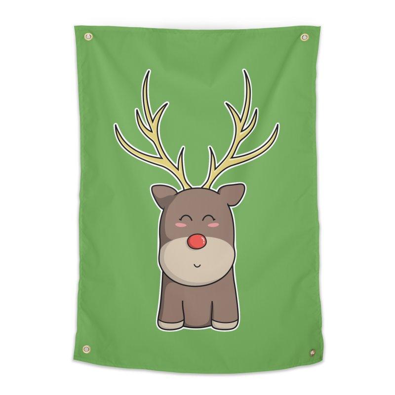 Cute Kawaii Christmas Reindeer Home Tapestry by Flaming Imp's Artist Shop