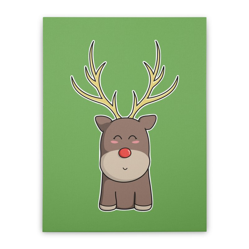 Cute Kawaii Christmas Reindeer Home Stretched Canvas by Flaming Imp's Artist Shop