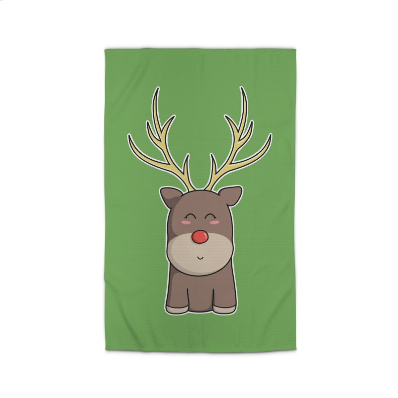 Cute Kawaii Christmas Reindeer Home Rug by Flaming Imp's Artist Shop