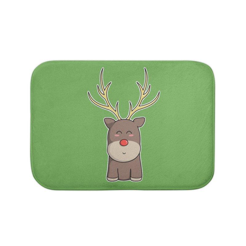 Cute Kawaii Christmas Reindeer Home Bath Mat by Flaming Imp's Artist Shop