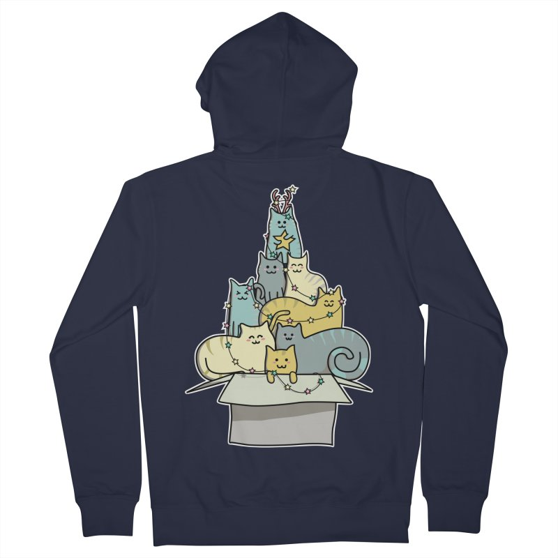 Cute Kawaii Cat Christmas Tree Men's Zip-Up Hoody by Flaming Imp's Artist Shop