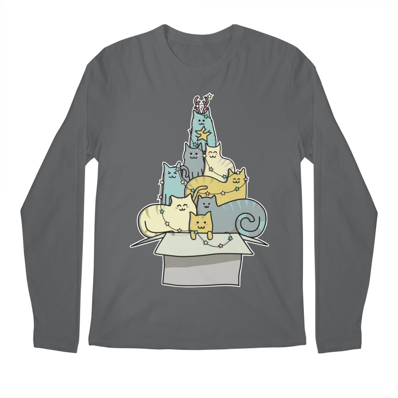 Cute Kawaii Cat Christmas Tree Men's Longsleeve T-Shirt by Flaming Imp's Artist Shop