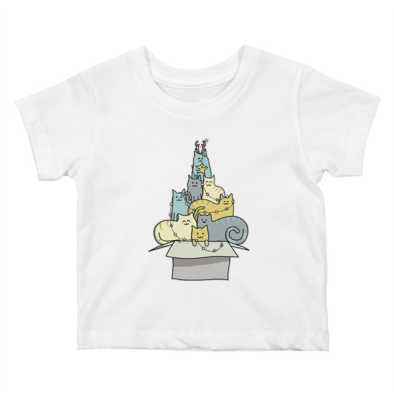 Cute Kawaii Cat Christmas Tree Kids Baby T-Shirt by Flaming Imp's Artist Shop