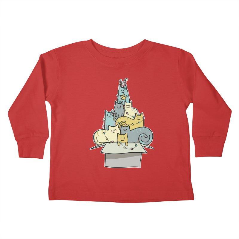 Cute Kawaii Cat Christmas Tree Kids Toddler Longsleeve T-Shirt by Flaming Imp's Artist Shop