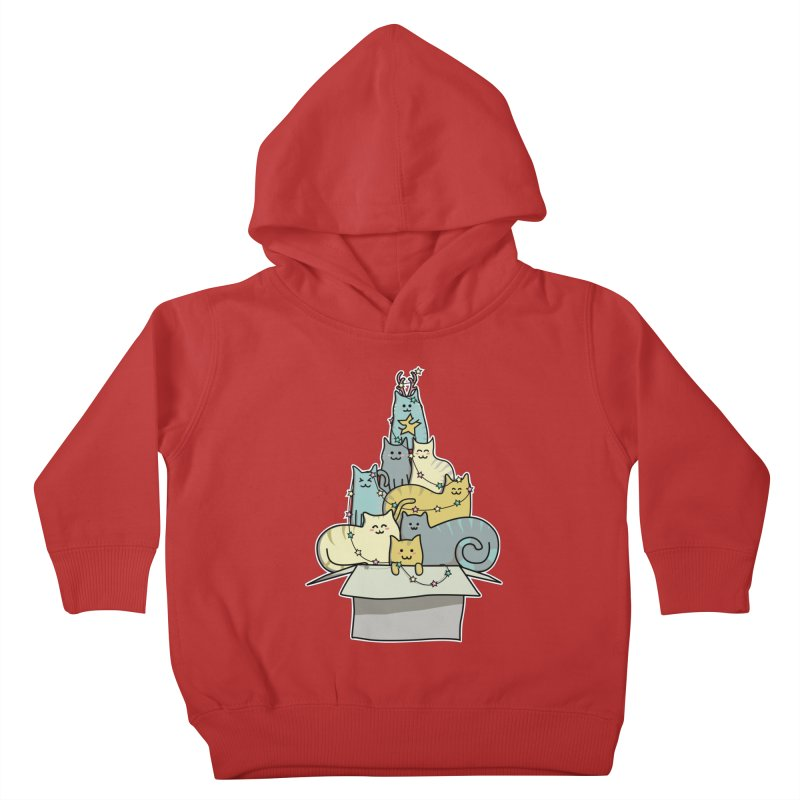 Cute Kawaii Cat Christmas Tree Kids Toddler Pullover Hoody by Flaming Imp's Artist Shop