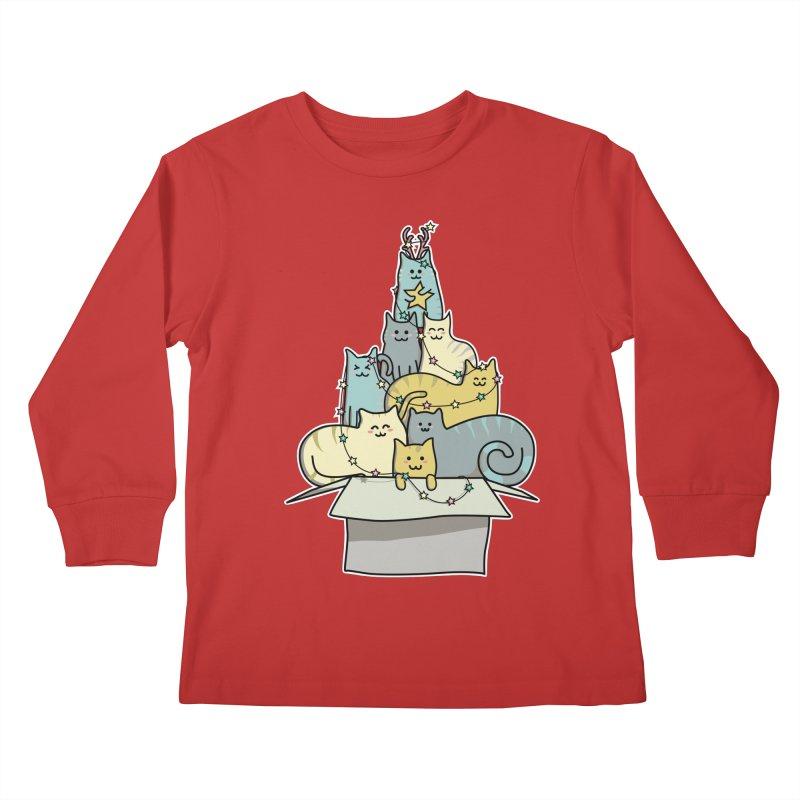 Cute Kawaii Cat Christmas Tree Kids Longsleeve T-Shirt by Flaming Imp's Artist Shop