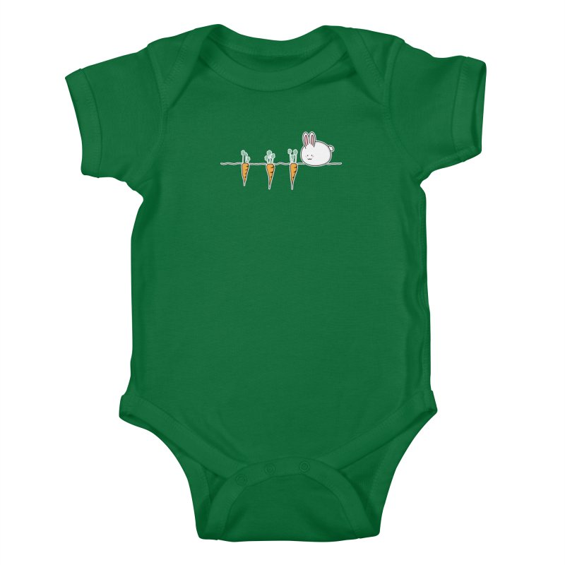 Cute Kawaii Rabbit and Carrots Kids Baby Bodysuit by Flaming Imp's Artist Shop
