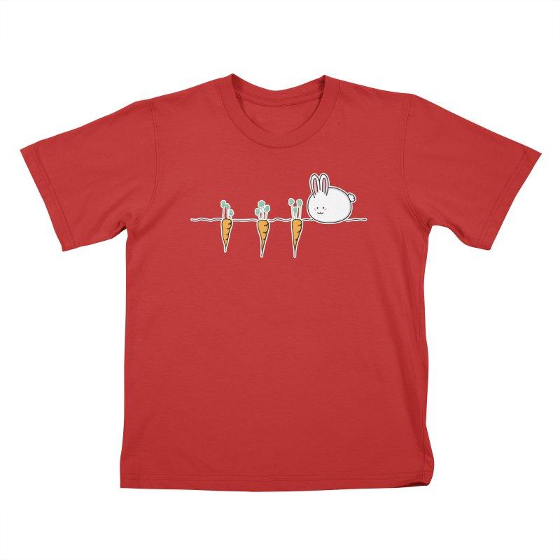 Cute Kawaii Rabbit and Carrots Kids T-Shirt by Flaming Imp's Artist Shop