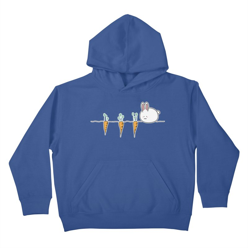 Cute Kawaii Rabbit and Carrots Kids Pullover Hoody by Flaming Imp's Artist Shop